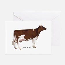 Red and White Holstein Cow Greeting Card