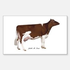 Red and White Holstein Cow Sticker (Rectangle)