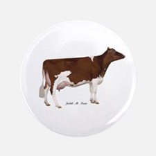 """Red and White Holstein Cow 3.5"""" Button"""