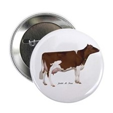 """Red and White Holstein Cow 2.25"""" Button (10 p"""