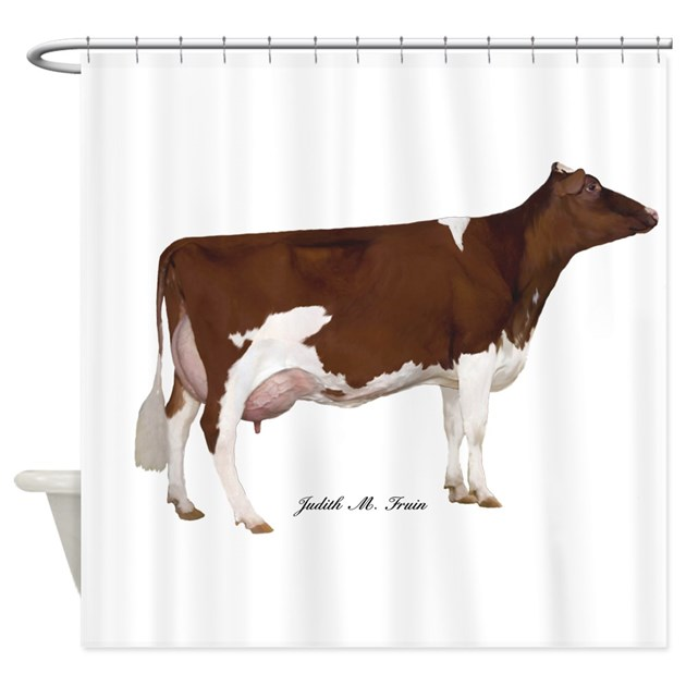 Red And White Holstein Cow Shower Curtain By Judithfruin