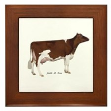 Red and White Holstein Cow Framed Tile