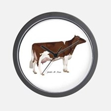 Red and White Holstein Cow Wall Clock
