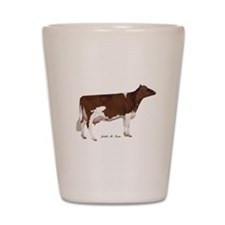 Red and White Holstein Cow Shot Glass
