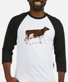 Red and White Holstein Cow Baseball Jersey