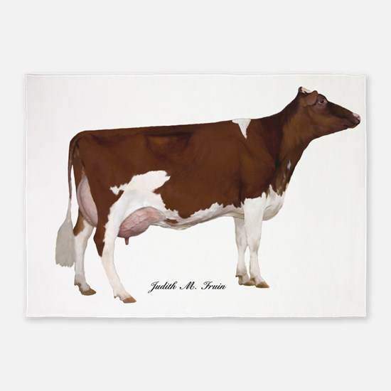 Red and White Holstein Cow 5'x7'Area Rug