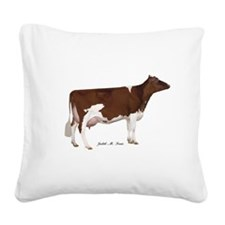 Red and White Holstein Cow Square Canvas Pillow