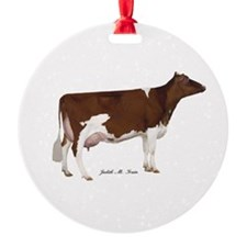 Red and White Holstein Cow Ornament
