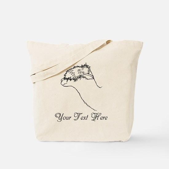 Alpaca. Custom Text. Tote Bag