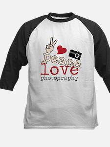 Peace Love Photography Kids Baseball Jersey