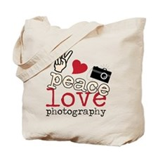 Peace Love Photography Tote Bag