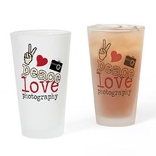 Peace Love Photography Drinking Glass