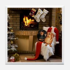 By the Fireplace Doxies Tile Coaster