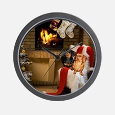 By the Fireplace Doxies Wall Clock