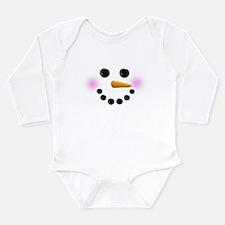 Snowman Face Long Sleeve Infant Bodysuit