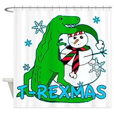 T Rexmas Shower Curtain