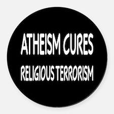 Atheism Cures Religious Terrorism Round Car Magnet