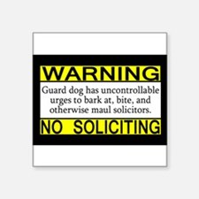 Warning No Soliciting Guard Rectangle Sticker