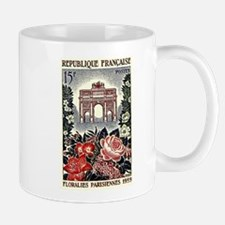 1959 France Paris Flowers Postage Stamp Mug