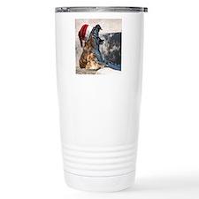 Santa Hat Bengal Tiger Travel Coffee Mug
