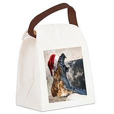 Santa Hat Bengal Tiger Canvas Lunch Bag