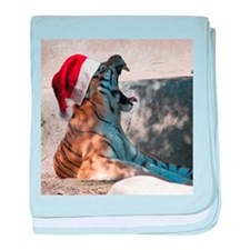 Santa Hat Bengal Tiger baby blanket
