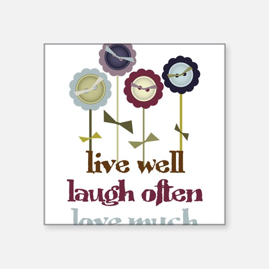 "Live Well Square Sticker 3"" x 3"""