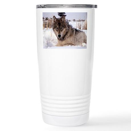 Wolf in Yellowstone Stainless Steel Travel Mug
