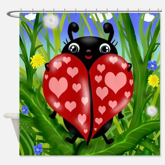 Love Bug Lady Bug Shower Curtain