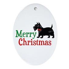 Christmas Scottish Terrier Ornament (Oval)