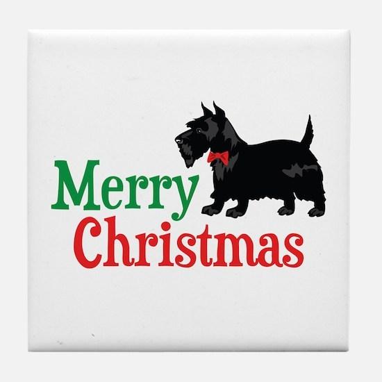 Christmas Scottish Terrier Tile Coaster