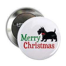 "Christmas Scottish Terrier 2.25"" Button"