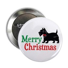 "Christmas Scottish Terrier 2.25"" Button (10 pack)"