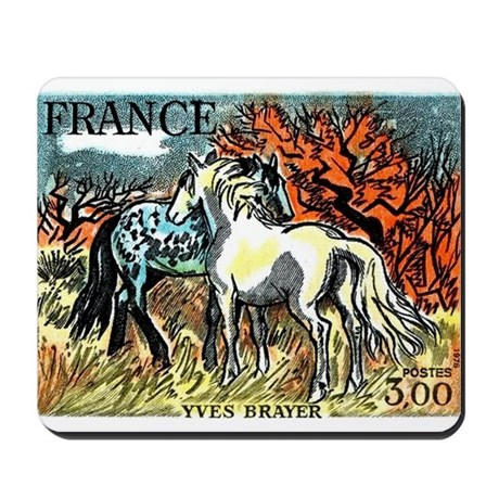 1978 France Horses Painting Stamp Mousepad