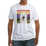 White Husky Meadow Fitted T-Shirt