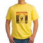 White Husky Meadow Yellow T-Shirt