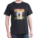 White Husky Meadow Dark T-Shirt