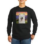 White Husky Meadow Long Sleeve Dark T-Shirt