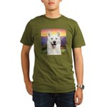White Husky Meadow Organic Men's T-Shirt (dark)