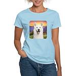 White Husky Meadow Women's Light T-Shirt