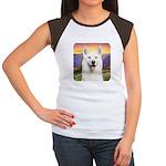 White Husky Meadow Women's Cap Sleeve T-Shirt