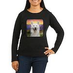 White Husky Meadow Women's Long Sleeve Dark T-Shir