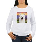 White Husky Meadow Women's Long Sleeve T-Shirt