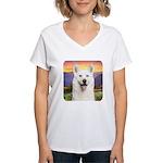 White Husky Meadow Women's V-Neck T-Shirt