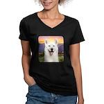 White Husky Meadow Women's V-Neck Dark T-Shirt