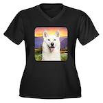 White Husky Meadow Women's Plus Size V-Neck Dark T
