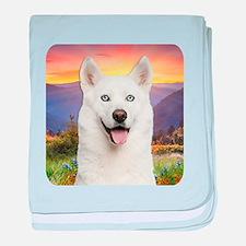 White Husky Meadow baby blanket