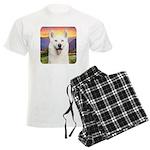 White Husky Meadow Men's Light Pajamas
