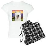White Husky Meadow Women's Light Pajamas