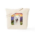 White Husky Meadow Tote Bag